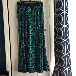 Navy blue & teal maxi skirt